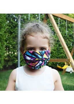 motif pleated face mask