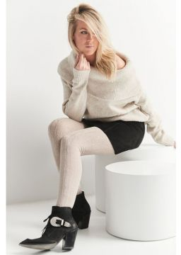 Merino wool tights - cable pattern