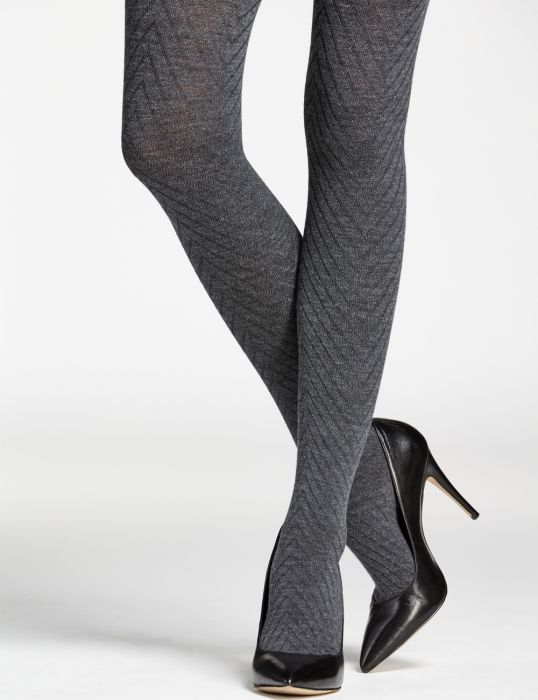 a86e532aed9d51 Merino wool tights - herringbone pattern