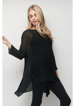 Ribbon knit Asymetrical shirt