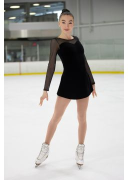 Figure Skating plain velvel dress