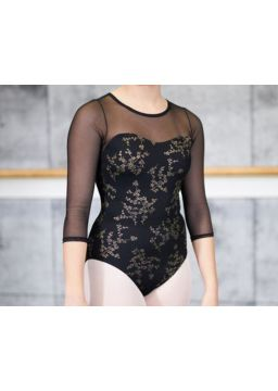 Leotard covered with floral printed mesh