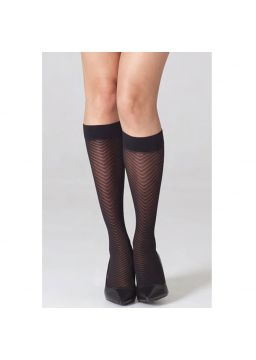 Herringbone motif knee high