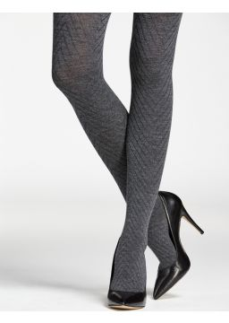 Merino wool tights - herringbone pattern