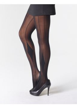 Stripe and diamond motif tights