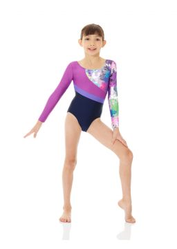 Printed metallic leotard